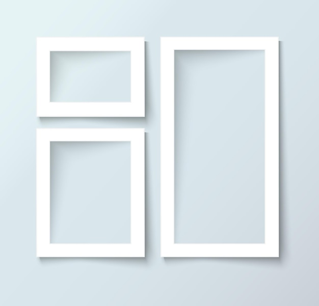 Vector blank photo frames with empty space for image and text, realistic vector