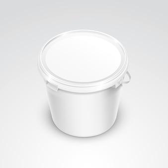 ベクター空白のプラスチック製のバケットコンテナー包装