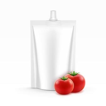 ベクトル空白プラスチックスタンドアップパックまたはトマトケチャップのポーチホイル