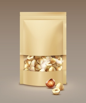 Vector blank sealed foil, plastic bag full of peeled hazelnuts side view on light background