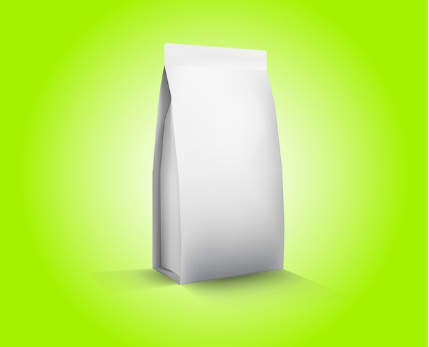 Vector blank white foil food packaging llustration