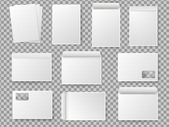 ベクター空白のホワイトペーパーC4封筒セット。紙A4のリアルなモックアップ。