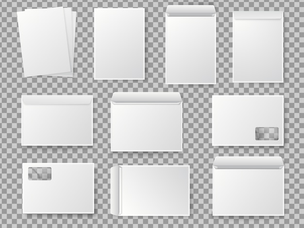 Vector blank white paper c4 envelope set. realistic mockup for paper a4.
