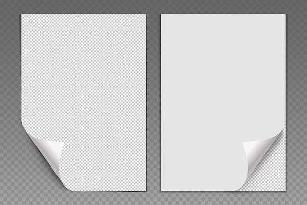Vector blank white sheets of paper with folded corner realistic pages of office forms or school not