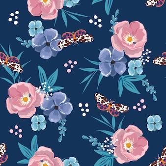 벡터 여름 나비 벡터 eps10, 패션, 직물, 섬유, 벽지, 커버, 웹, 포장 및 진한 파란색의 모든 인쇄를 위한 디자인으로 꽃이 만발한 매끄러운 패턴