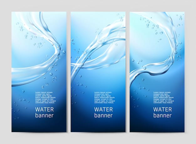 Vector blue background with flows and drops of crystal clear water