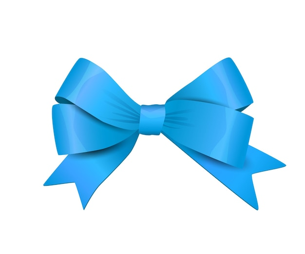 Vector blue bow isolated on white background decorative design element