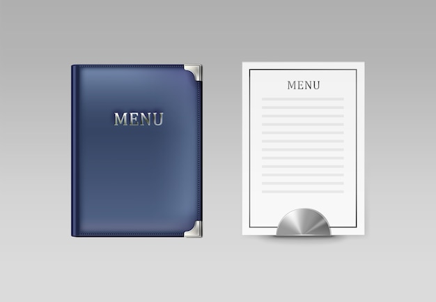 Vector blue cafe menu book holder and white card top view isolated on gray background