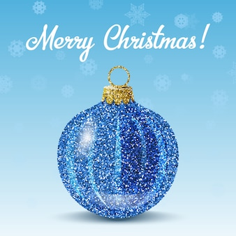 Vector blue christmas ball on snowflakes background