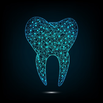 Vector blue color dental mapping concept with dots design