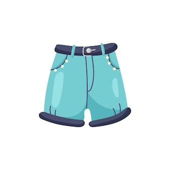 ベクトル青いデニムのショートパンツ
