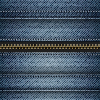 Vector blue denim with stitched stripes and fastener.