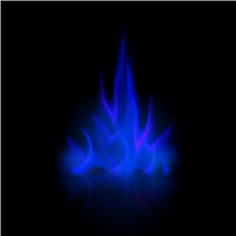 Vector blue fire flame bonfire