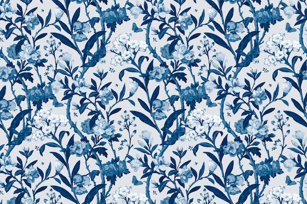 Vector blue floral pattern vintage background
