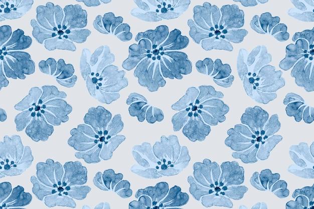 ベクトル青い花柄ヴィンテージ背景