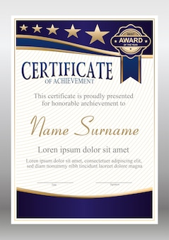 Vector blue and gold certificate template