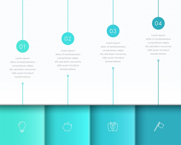 Vector blue infographic 3d page layout with steps one to four