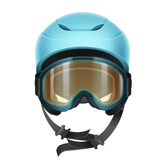 Casco protettivo blu di vettore con occhiali arancioni per sci, snowboard e altri sport invernali vista frontale isolato su priorità bassa bianca