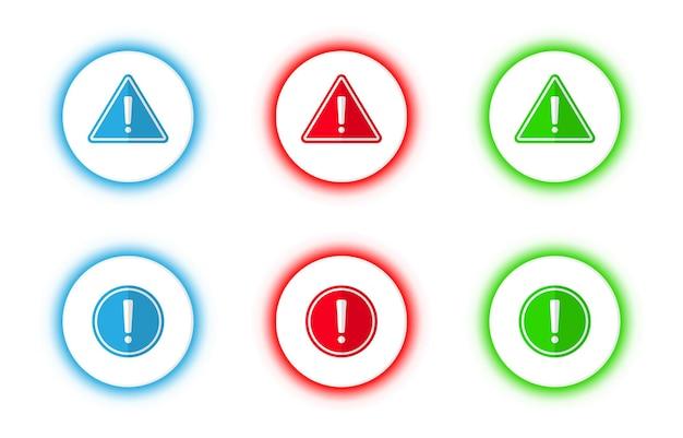 벡터 파란색, 빨간색 및 녹색 격리 경고 경고 표시 버튼 세트.