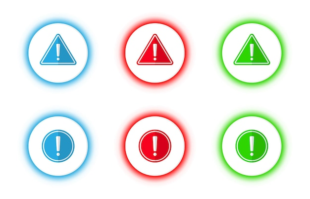 Vector blue, red and green isolated alert warning sign button set.