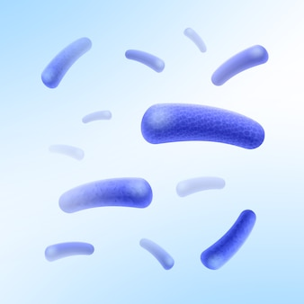 Vector blue rod-shaped bacilli bacteria flying chaotically in white space