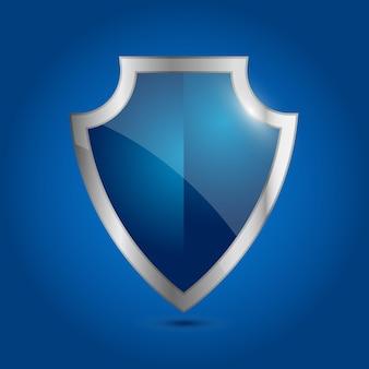 Вектор синий щит. значок безопасности и гарантии. броня пустая тарелка. щит с блестящей серебряной каймой. символ безопасности и защиты. вектор, изолированные на синем фоне