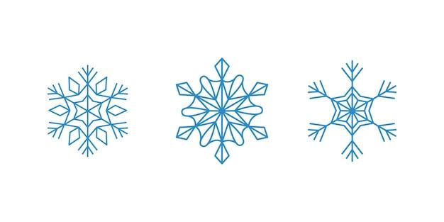 白い背景に青い雪片をベクトルします。孤立したアウトラインフレークセット。冬の装飾のためのラインアートコレクション。