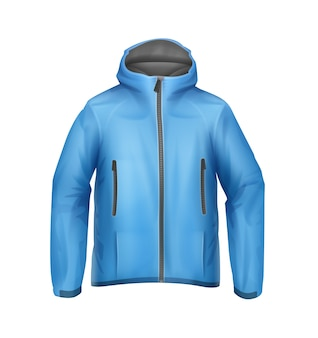Vector blue softshell unisex sport jacket with hood front view isolated on white background