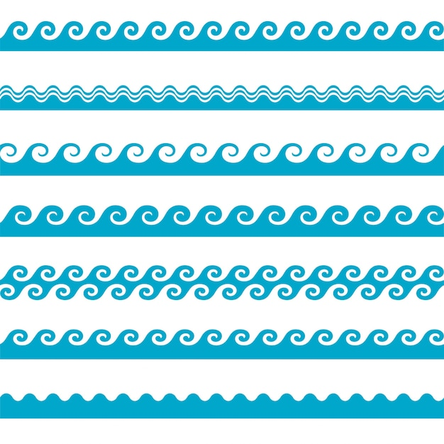 Free Vector Blue Wave Icons Set On White Background Water Waves Svg Dxf Eps Png Download Free Svg Cut Files