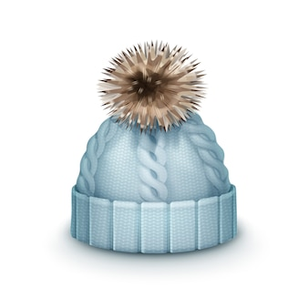 Berretto lavorato a maglia invernale blu vettoriale con vista laterale pom-pom isolato su priorità bassa bianca