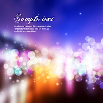 Vector blurry lights background with text template