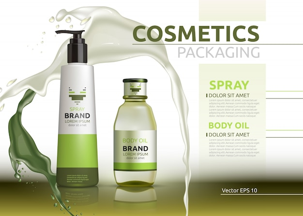 Vector body oil and spray natural products realistic bottles.
