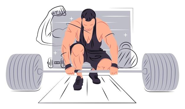 Vector bodybuilder in shadow of sharp lines style