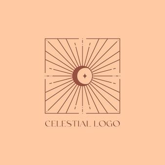 태양, 달, 햇살이 있는 벡터 보헤미안 로고 디자인 템플릿입니다. boho 선형 아이콘 또는 트렌디한 미니멀리스트 스타일의 기호입니다. 현대적인 천상의 상징입니다. 브랜딩 디자인 템플릿입니다.