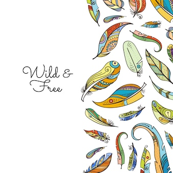Vector boho doodle colored feathers background illustration