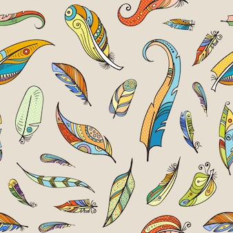 Vector boho doodle feathers seamless pattern illustration