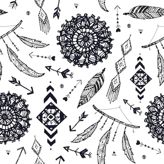 ベクトル自由奔放に生きるシームレスなパターン。手描きのドリームキャッチャー、鳥の羽、矢印の背景。黒と白