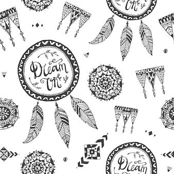 벡터 boho 스타일 완벽 한 패턴, 직물, 배경입니다. 손으로 그린 드림 캐쳐, 레이스