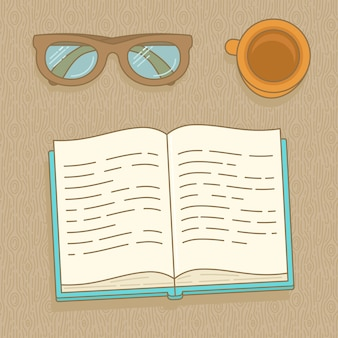 Vector book, glasses and coffee cup