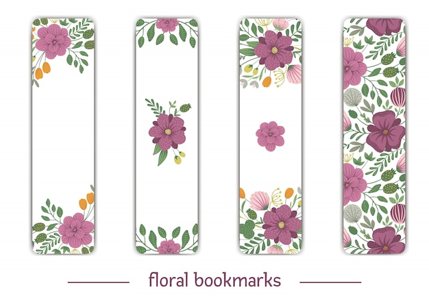 Vector bookmark templates with floral elements. flat trendy illustration with flowers, leaves, branches. meadow, woodland, forest clip art. vertical layout card templates.