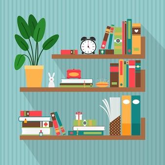 Libri di vettore sugli scaffali. biblioteca e letteratura, interni e studio