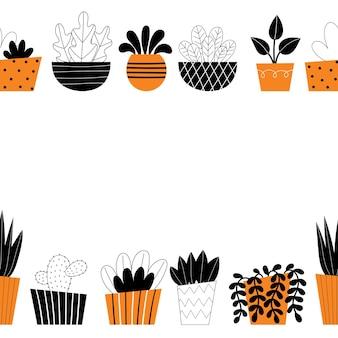 실내 식물의 벡터 테두리입니다. 가정 장식, 원예, 화분에 심은 꽃. 방 장식. 흰색 배경에 양식에 일치시키는 디자인 그림입니다. 텍스트를 위한 공간입니다.