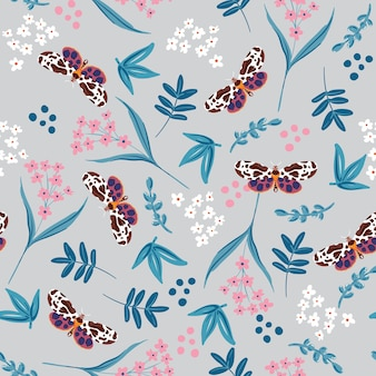 Vector botanical palnts seamless pattern with summer butterflies vector eps10 ,design for fashion , fabric, textile, wallpaper, cover, web , wrapping and all prints on light grey color