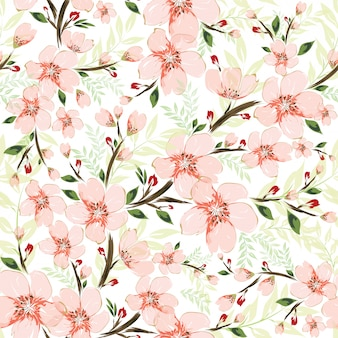 Vector botanical seamless pattern background.