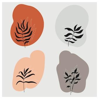 벡터 식물 벽 예술 세트 지구 톤 boho