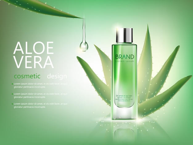 Vector bottle aloe vera cosmetic mock up on green background