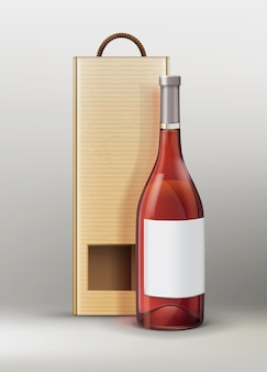 Vector bottle for wine or champagne with craft paper packaging on gray background
