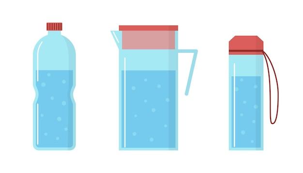 Вектор бутылки воды и полный кувшин на белом фоне пресная вода с пузырьками в плоском стиле
