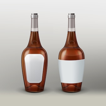 Vector bottles with empty labels, front and back view isolated on gradient background