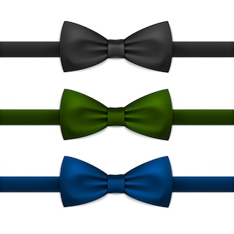 Vector bow tie bowtie set isolated on white
